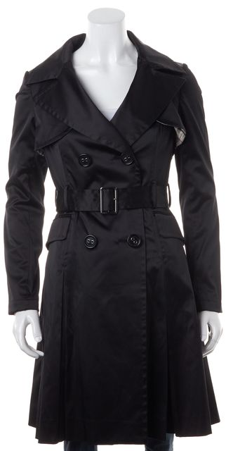BURBERRY Solid Black Belted Six Button Trench Coat