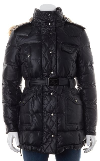 BURBERRY Solid Black Detachable Fur Quilted Coat
