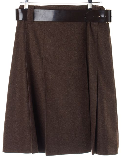 BURBERRY Brown Wool Patent Leather Belt Pleated Skirt