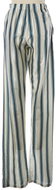 BURBERRY Ivory Dark Forest Green Panama Stripe Silk Satin Pyjama Trousers