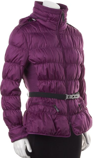 BURBERRY Purple Belted Puffer Coat
