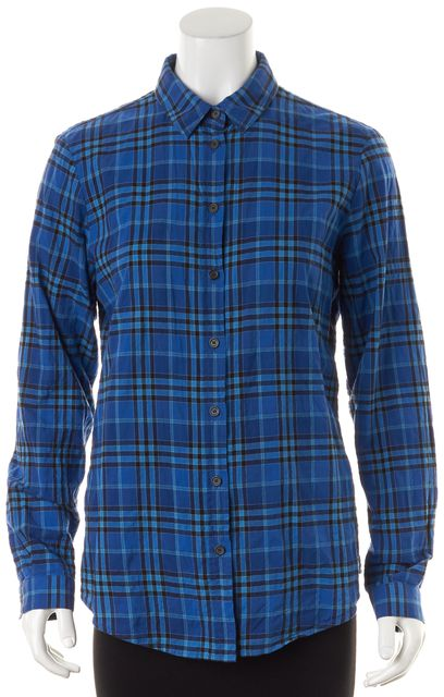 BURBERRY Blue Black Plaid Print Cotton Long Sleeve Button Down Shirt
