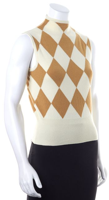 BURBERRY Ivory Beige Harlequin Diamond Knit Sleeveless Top