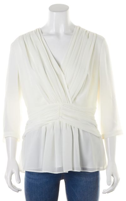 BURBERRY Natural White Ruched Pleated V-Neck 3/4 Sleeve Blouse