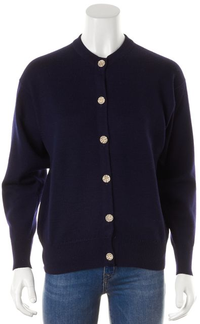 BURBERRY Dark Navy Blue Wool Gold Button Down Cardigan