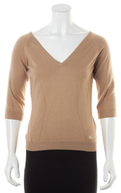 BURBERRY Camel Brown Cotton Thin Knit 3/4 Sleeve V-Neck Sweater