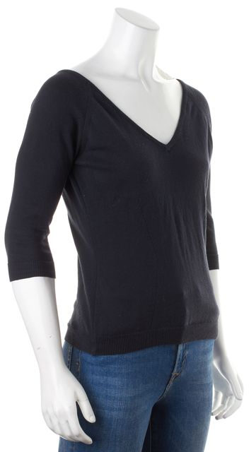 BURBERRY Navy Blue Thin Knit Cotton 3/4 Sleeve V-Neck Sweater
