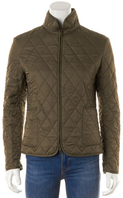 BURBERRY Dark Olive Green Quilted House Check Lined Zip Up Jacket