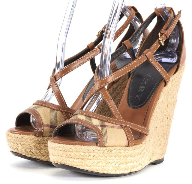 BURBERRY Beige House Check Leather Espadrille Sandal Wedges