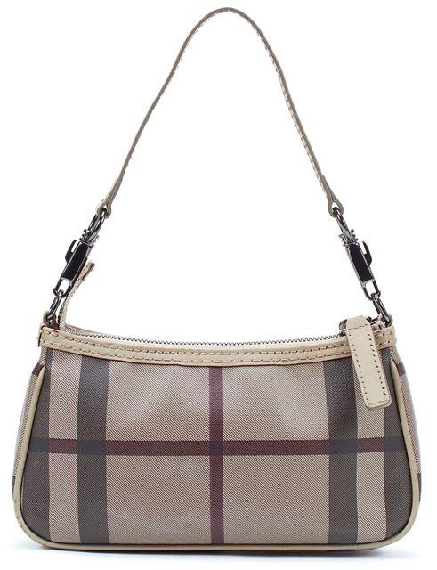 BURBERRY Beige Plaid House Check Coated Canvas Pochette Shoulder Bag