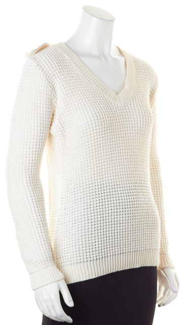 BURBERRY White Waffle Knit Button Sleeve V-Neck Sweater