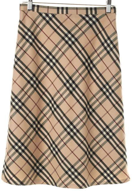 BURBERRY Beige Black Red Plaid House Check Wool A-Line Skirt