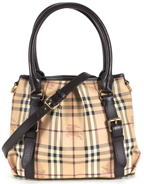 BURBERRY Beige House Check Coated Canvas Leather Trim Satchel Bag