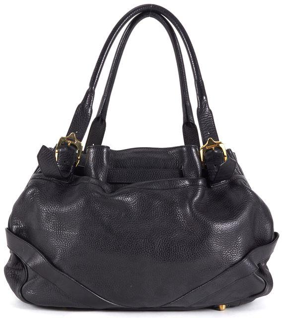 BURBERRY Black Pebbled Leather Gold Hardware Bucket Satchel Bag