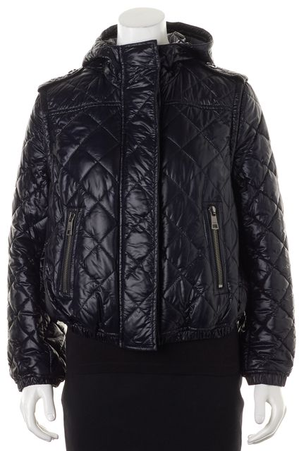 BURBERRY Blue House Check Lined Quilted Puffer Jacket Convertible Vest