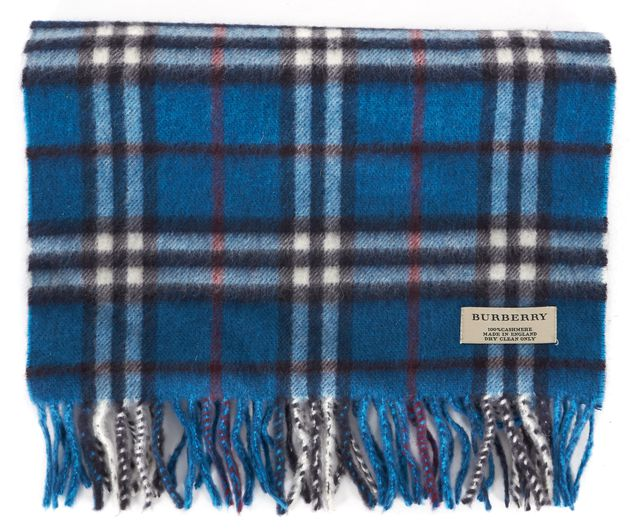 BURBERRY Teal Blue Red White Plaid House Check Cashmere Fringe Trim Winter Scarf