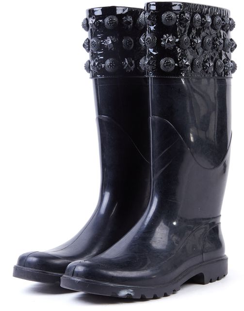 BURBERRY Black Rubber Patent Leather Medallion Embellished Rainboots