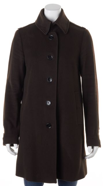BURBERRY Chocolate Brown Virgin Wool Button Up Basic Coat