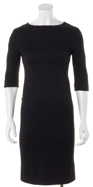 BURBERRY Black Wool 3/4 Sleeve Knee-Length Sheath Dress