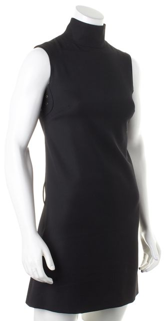 BURBERRY Black Wool Sleeveless Turtleneck Sheath Dress