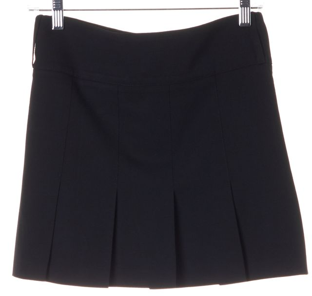 BURBERRY Black Wool Above Knee Pleated Straight Skirt