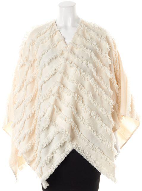 BURBERRY Ivory Wool Fringe Shawl Sweater