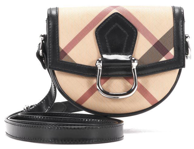 BURBERRY Brown Black Coated Canvas Leather Trim Nova Check Mini Crossbody Bag