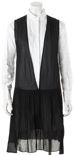 BURBERRY Black Silk Overlay White Cotton Colorblock Shirt Dress