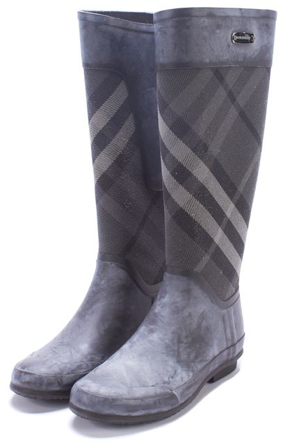 BURBERRY Multi-Gray Distressed Nova Check Clemence Rainboots