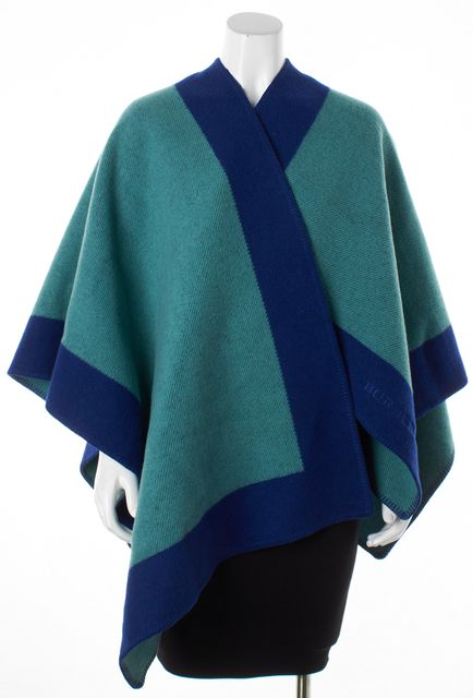 BURBERRY Green & Blue Colorblock Poncho Shawl/Wrap Scraf
