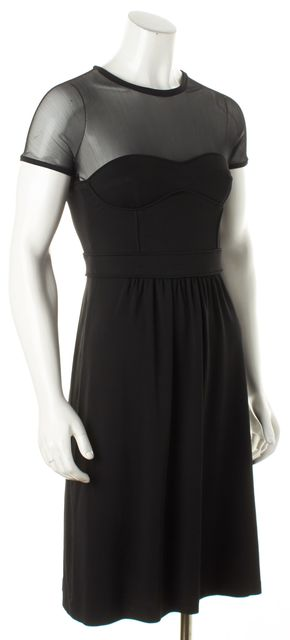 BURBERRY Black Faux Corset Mesh Trimmed Sheath Dress
