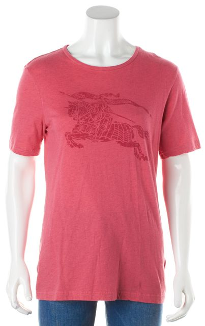 BURBERRY Pink Knit Top Logo T-Shirt