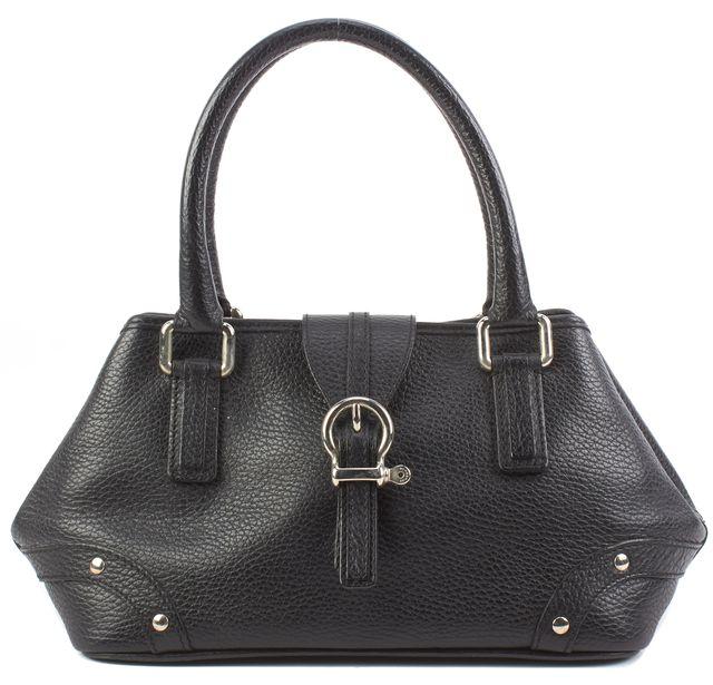 BURBERRY Black Leather Chrome Tone Hardware Mini Hand Bags