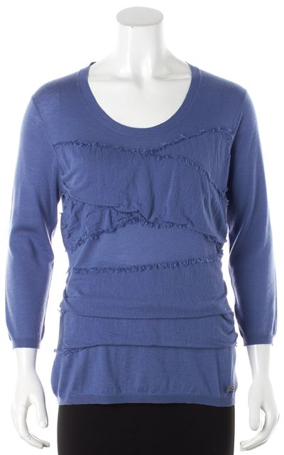 BURBERRY Blue Wool Ruched Fringe Detailed Scoop Neck Sweater
