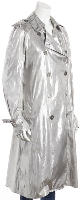 BURBERRY Silver Metallic Ruched Detail Waist Cuff Sleeved Trench Coat