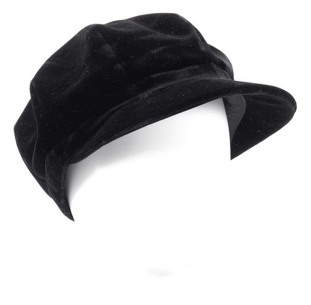 BURBERRY Black Velvet Engineer Hat