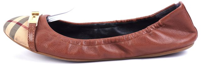 BURBERRY Brown Checks Leather Flats Size US 10 IT 40.5