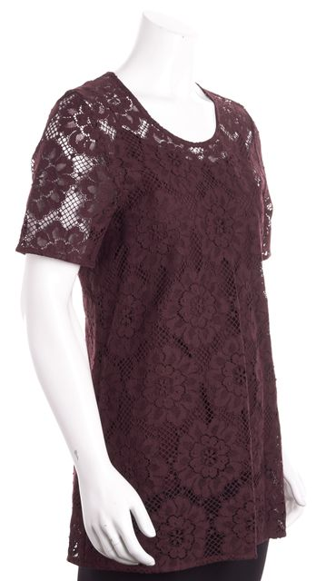 BURBERRY Deep Claret Lace Tunic Blouse