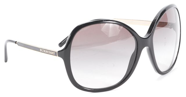 BURBERRY Black Gradient Round Metal & Acetate Sunglasses w/ Case