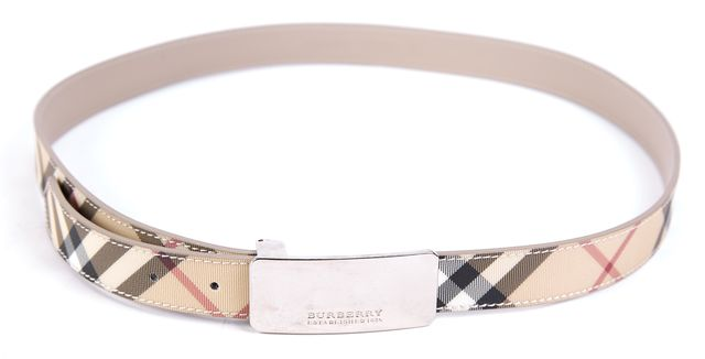 BURBERRY Beige Check Plaid Multi-colored Belt