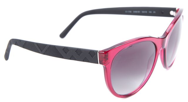 BURBERRY Black Magenta Acetate Oval Sunglasses