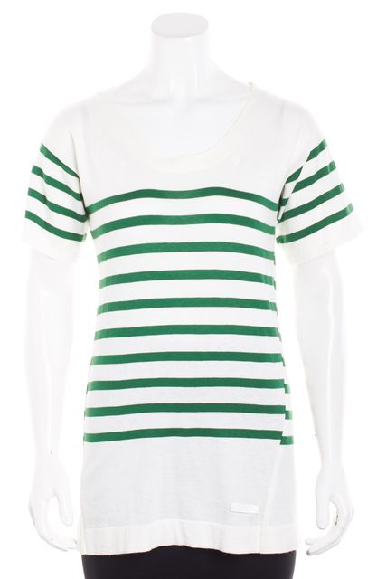 BURBERRY White Green Striped Knit Top