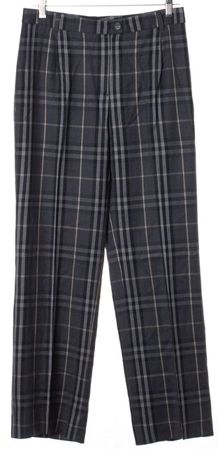 BURBERRY Multi-Tone Gray Plaid Dress Pants