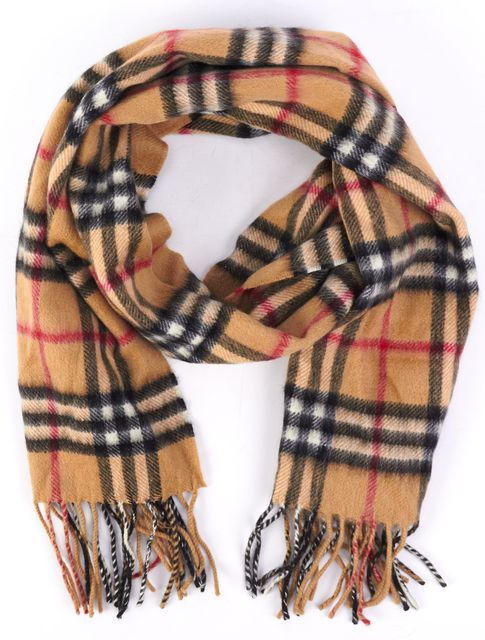 BURBERRY Beige Black White Red Fringed Detail Plaid Cashmere Scarf