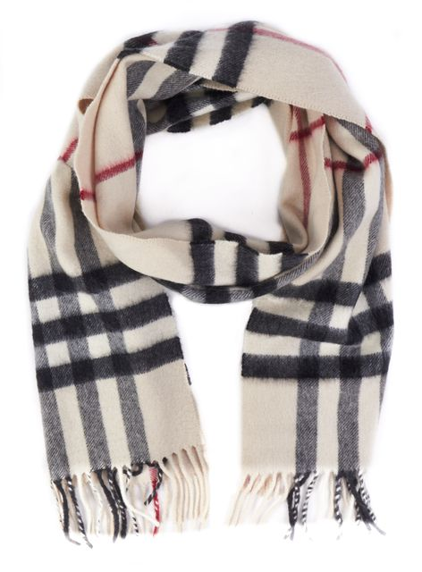 BURBERRY Beige Plaids Fringe Trim Cashmere Winter Scarf