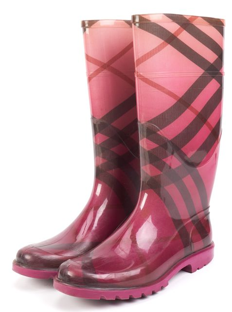 BURBERRY Pink House Check Tall Rainboots