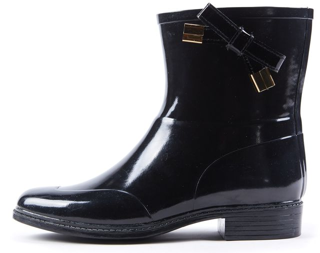 BURBERRY Black Rubber Bow Embellished Westcott Rainboots