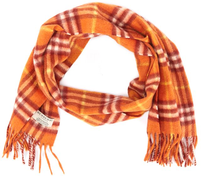 BURBERRY Orange Yellow White Plaid Fringed Cashmere Scarf