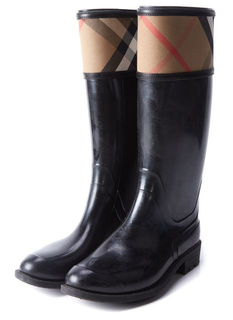 BURBERRY Black Nova Check Tall Boot Rainboots