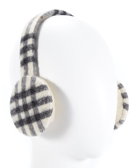 BURBERRY Gray Beige Plaid Earmuffs